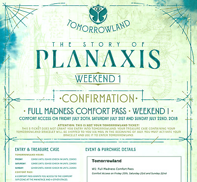 2 x tomorrowland 2018 full madness comfort vip pass weekend 1 2 tickets 2. Black Bedroom Furniture Sets. Home Design Ideas