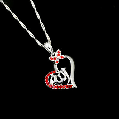 Islamic Allah Love Heart Silver Plated Rhinestone Pendant Necklace Jewelry