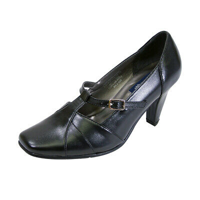 fc32eac1f6bfe PEERAGE Isabel Women Wide Width Square Toe T-Strap Buckle Leather Pump 👠