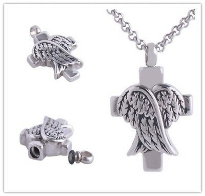 Pet Cremation Urn Necklaces Wings Dog Ashes Keepsake Jewelry Pendant Memorial