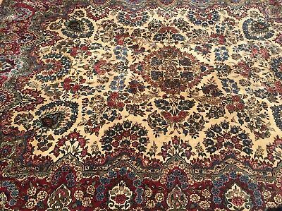 ANTIQUE LARGE 1930s PERSIAN RUG IRAN HANDMADE RUGS HAND KNOTTED red blue mashad