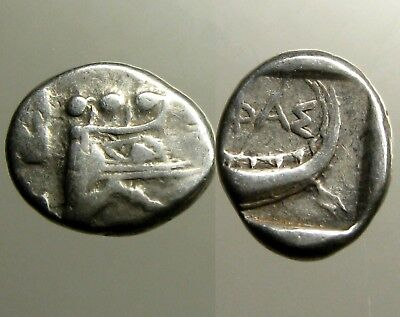 PHASELIS LYCIA SILVER TETROBOL__Prow & Stern of Galley__ALEXANDER THE GREAT BASE