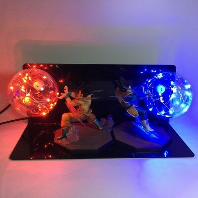 RARE Dragon Ball Z VEGETA & GOKU Figure Power Up LED Light Fighting Flash Ball