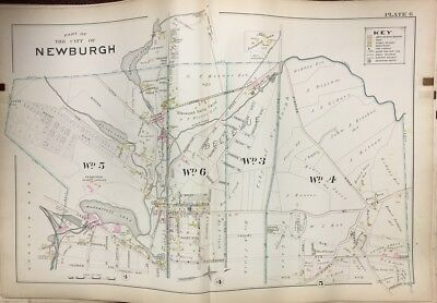 Original 1903 Orange County Ny Newburgh Bellevue Muchattoes Lake Plat Atlas Map