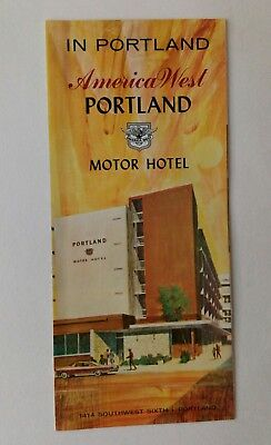 Vintage America West Portland Motor Hotel Brochure Americana Lithographed