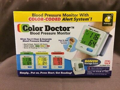 COLOR DOCTOR BLOOD PRESSURE MONITOR, Irregular Heart Beat Alert +More, NEW