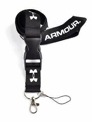 **Black Under Armour Skate Sport Lanyard Key ID Badge Phone Keyring Neck Strap**