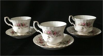 3 Royal Albert Lavender Rose Tea Cups with Saucers and 3 extra saucers