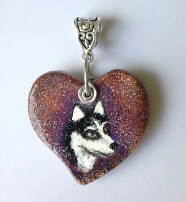 New Hand painted Siberian  Husky on a  Heart Pendant.