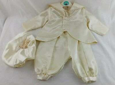 Vintage Christening Outfit 6-12 Months Boys Romper Suit Jacket Hat Ivory Prop