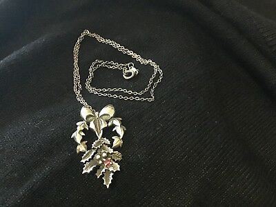 Sterling Silver Holly and Ivy pendant with Ruby, 1982 limited edition