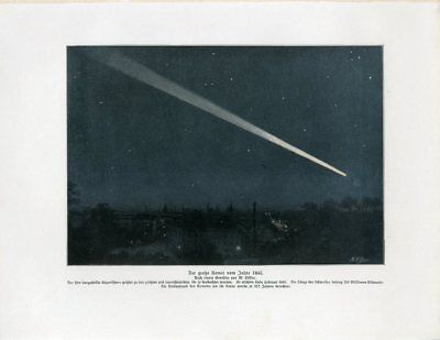 c1900 GREAT COMET 1843 ASTRONOMY Antique Litho Print W.Bolsche