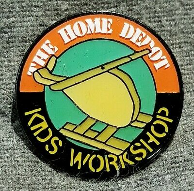 LMH PINBACK Pin HOME DEPOT Kids Workshop HELICOPTER Chopper 1""