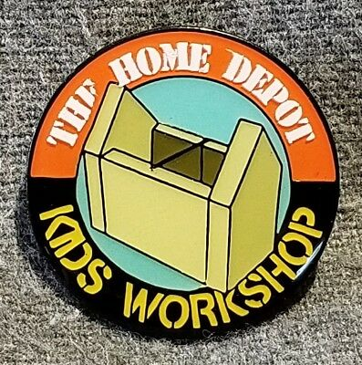 LMH PINBACK Pin HOME DEPOT Kids Workshop MAIL Greeting Card Box Holder 1""