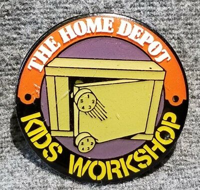 LMH PINBACK Pin HOME DEPOT Kids Workshop COMBINATION SAFE Storage Box 1""