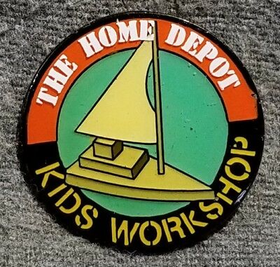 LMH PINBACK Pin HOME DEPOT Kids Workshop CATAMARAN Sailboat Sail Boat 1""