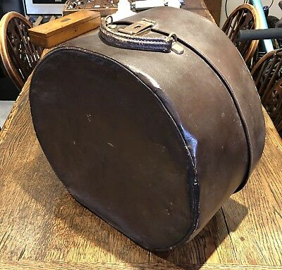 Vintage Brown Hat Box Carry Case Hand Luggage Stage Prop
