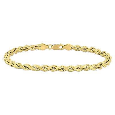Amour 10k Yellow Gold Unisex Rope Chain Bracelet (3-5mm & 7.5-9 inch)