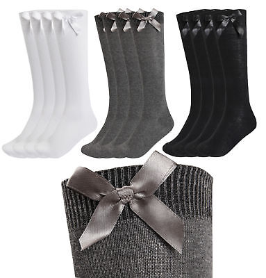 NEW 3 PAIRS GIRLS  SOCKS LONG BACK TO SCHOOL KNEE HIGH BOWS Long Cotton RICH