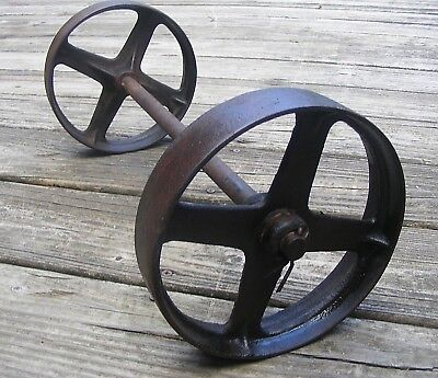 "2ea Antique Cast Iron 6"" Vintage Metal Wheels & Cart or Wagon Dolly w/ Axle"