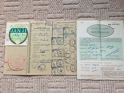 1971 Tax Disc For A 1950's Norman Auto Cycle 98cc + Log Book And MOT