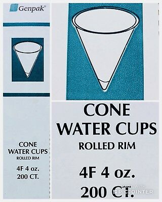 (1) Boxes Genpack (200 Count) 4 oz White Paper Cone Water Cups