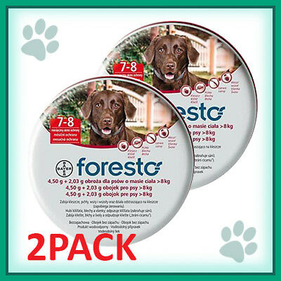 2PACK Bayer Seresto/Foresto Flea & Tick Collar for Large Dogs over 18lbs(8kg)