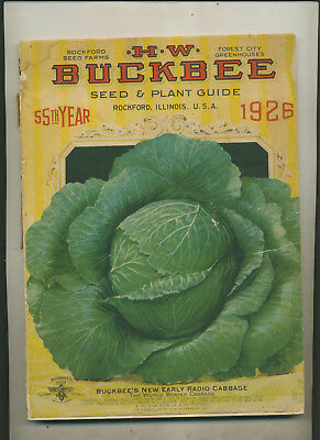 1926  H W Buckbee Rockford Illinois Plant & Seed Guide Shi**y Covers Nice Pages
