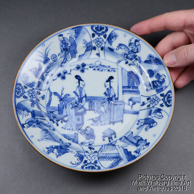 Chinese Blue & White Porcelain Dish, Court Scene, 18/19th C, Possibly Kangxi