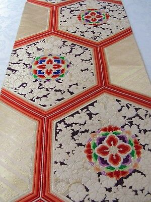 """Tiny Flowers Gold & Silver Gilted Embroider Japan Obi Silk Fabric 26""""L #171"""