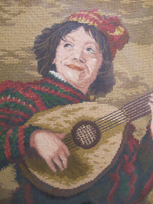 "Vintage ""The Jester"" Lute Player Needlepoint Portrait after Dutch Frans Hals yqz"