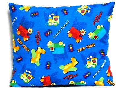 Airplanes Toddler Pillow on Blue Cotton AP11-14 New Handmade