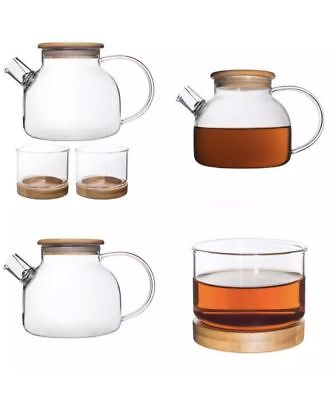 Bamboo Tea Set for 2 People  33-Ounce Clear Glass Teapot/Kettle with Two 5-Oz