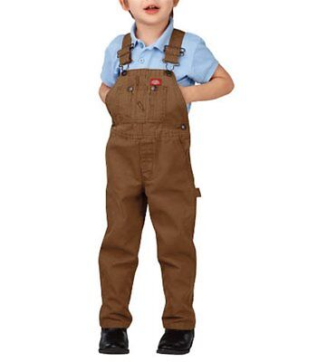 Dickies Classic Fit Toddler Rinsed Brown Duck Bib Overalls Size 3T NWT
