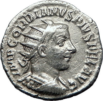 GORDIAN III 243AD Silver Authentic Genuine Ancient Roman Coin SOL SUN  i70222
