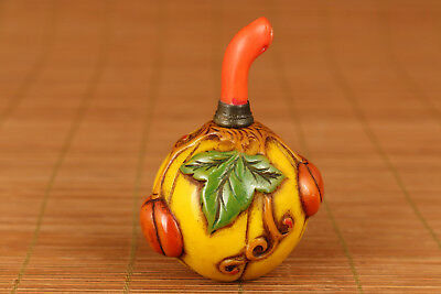 Rare Chinese Old Coloured Glaze Hand-Carved Yellow pumpkin Statue Snuff Bottle