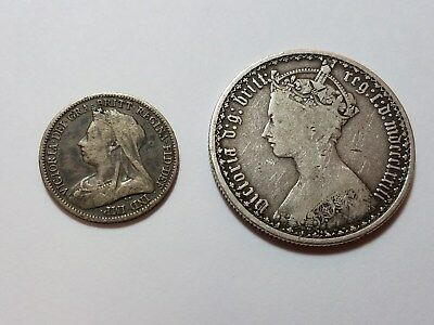 1873 Florin & 1893 Six 6 Pence, Great Britain Silver Coins. Free Shipping in US!
