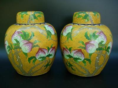 """A Nice Pair Of Antique Chinese """"peaches"""" Cloisonne Enamel Jar Vases"""