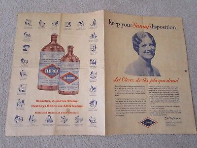 Vintage 1933 Clorox Chemical Co. Easy Housekeeping Hanging Chart