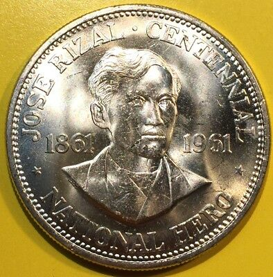 BU Unc 1961 Philippines Large Silver Peso Jose Rizal From Mint Roll Coin #2