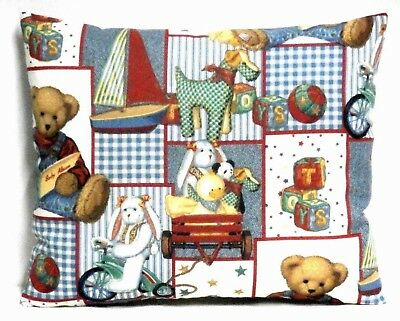 Blue Jean Teddy Toddler Pillow on multi-color Blocks Cotton BJT2-25 New Handmade
