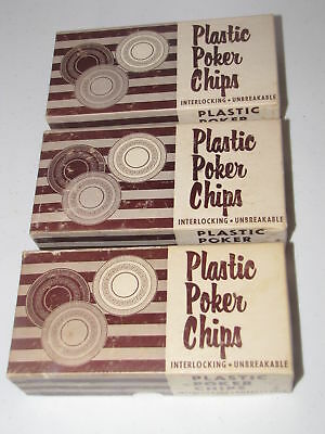 300 Vintage Plastic Poker Chips Interlocking Unbreakable 3 Boxes Red White Blue