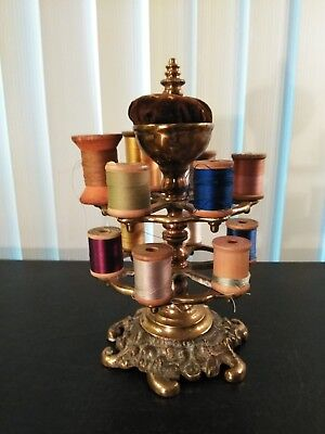 RARE! Antique Brass Victorian Spinning Thread Spool Stand & Pin Cushion