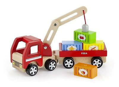 NEW Viga Toys Wooden Crane Truck with Magnetic Blocks