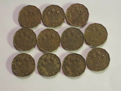 LOT OF 11 COINS FROM GREAT BRITAIN - 3 PENCE FROM 1937 to 1944 - (MTM #101)
