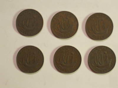 LOT OF 6 COINS FROM GREAT BRITAIN - 1/2 PENNY FROM 1944 to 1952 - (MTM #104)