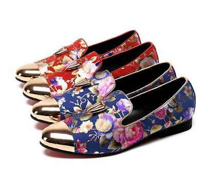 Classic Chic Men's Leather dress floral printed pointy toe slip on loafer shoes&
