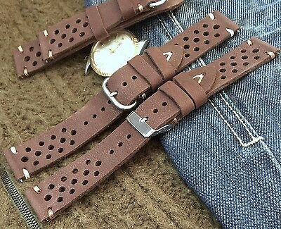 Vintage Italian Genuine Leather Racing Rally Watch Strap 18 19 20 21 22mm H/Made
