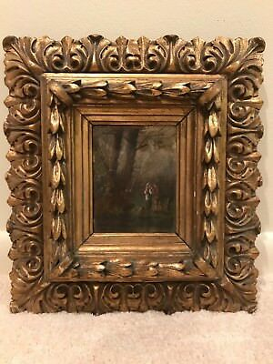 19th Century Continental Oil Painting Antique Gold Gilt Carved Picture Frame C