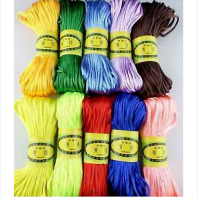 20Meter Chinese Knot Satin Nylon Braided Cord Macrame Beading Rattail Cords 3mm